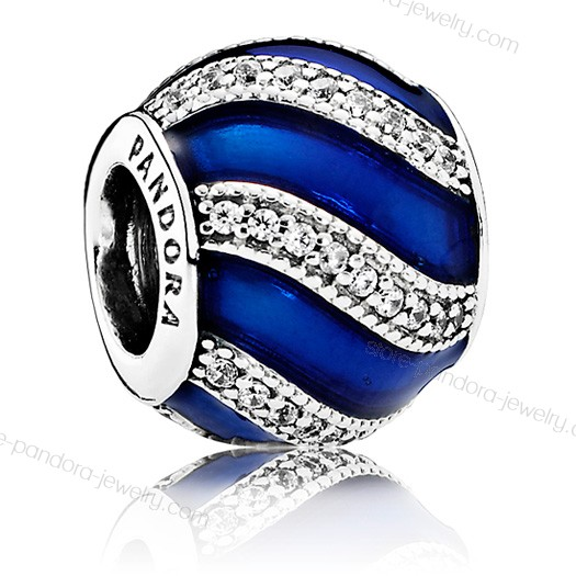 Pandora Blue Adornment Silver, Enamel & Cz Charm With Quick Expedition - Pandora Blue Adornment Silver, Enamel & Cz Charm With Quick Expedition-01-1
